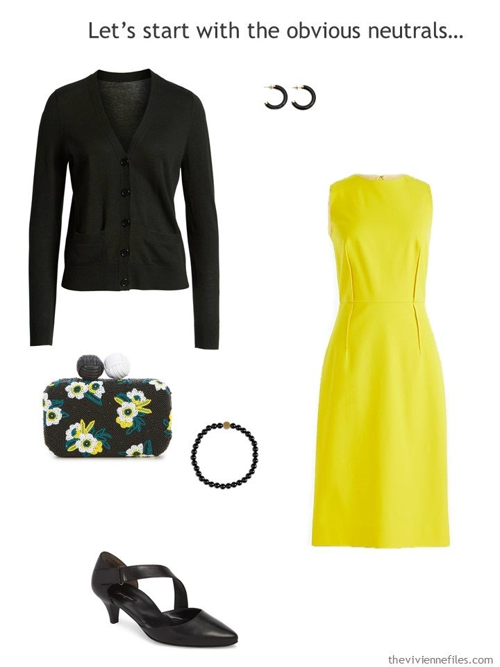 3. yellow dress with black accessories