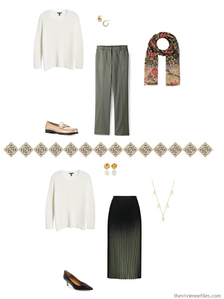 30. 2 ways to wear an ivory sweater from a capsule wardrobe