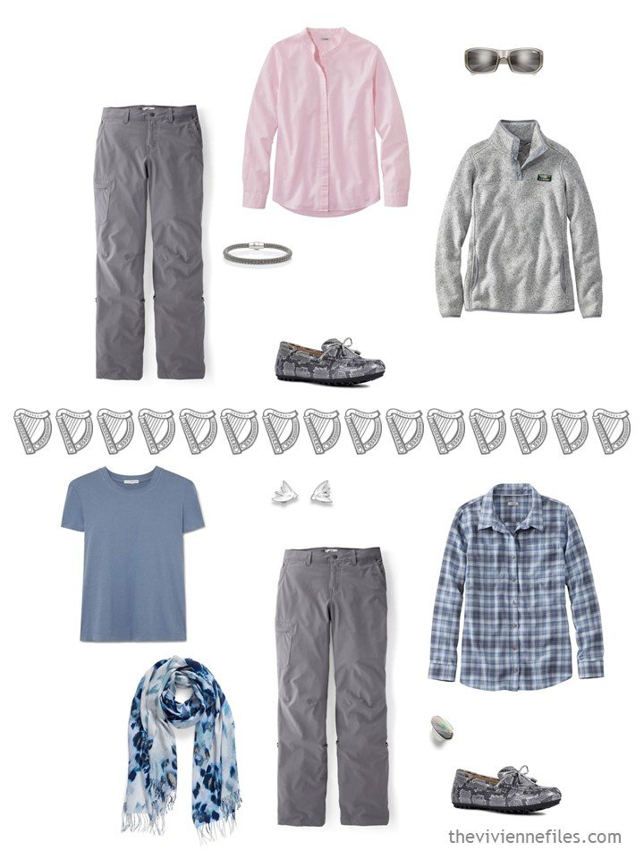 4. 2 ways to wear grey hiking pants from a travel capsule wardrobe