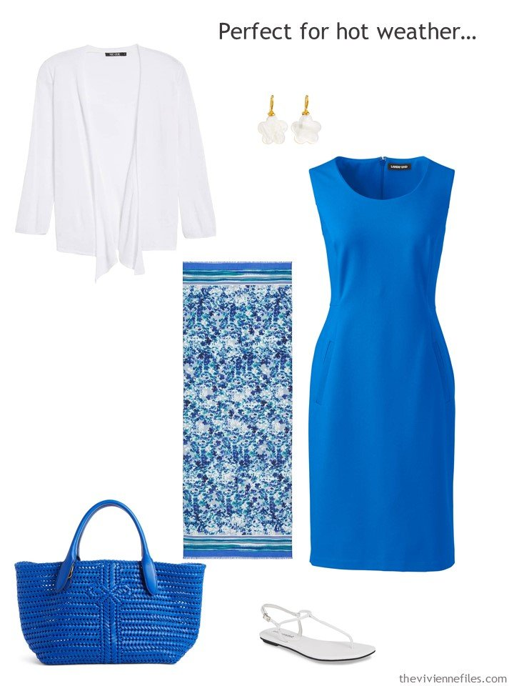 4. royal blue dress with white accessories