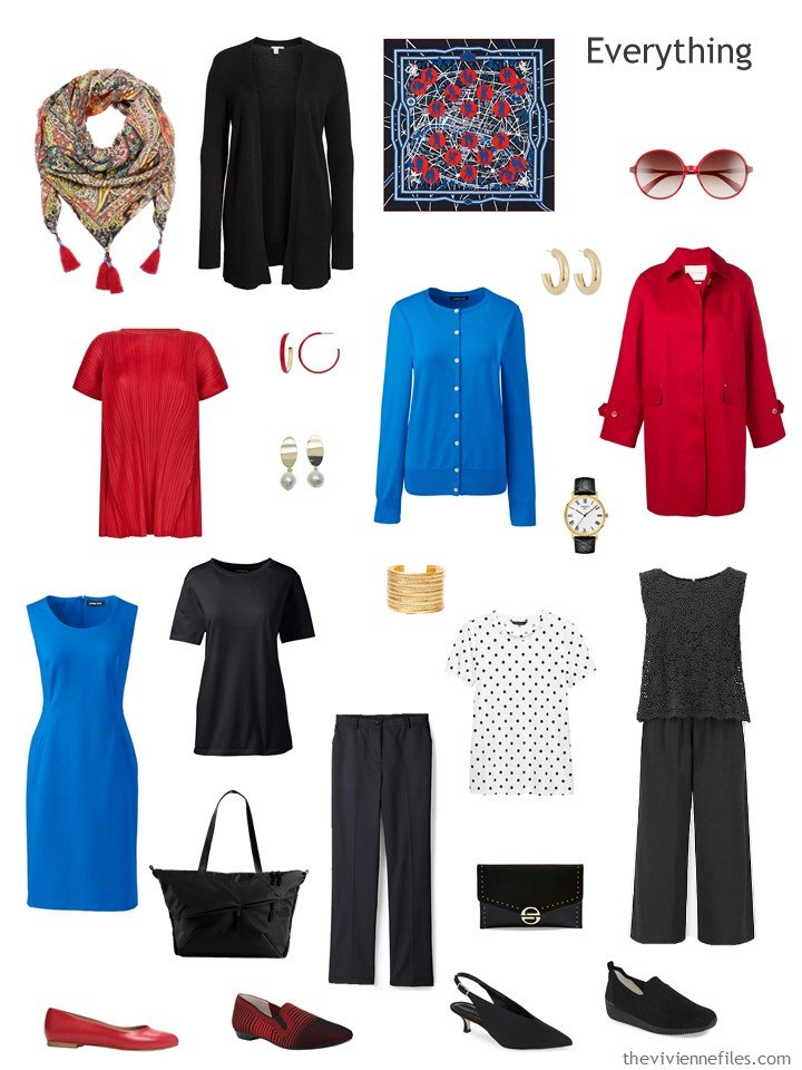 4. travel capsule wardrobe in black, white, red and bright blue