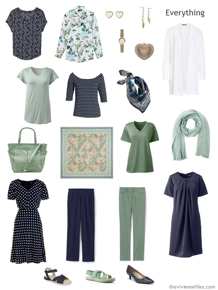 4. travel capsule wardrobe in navy, green and white