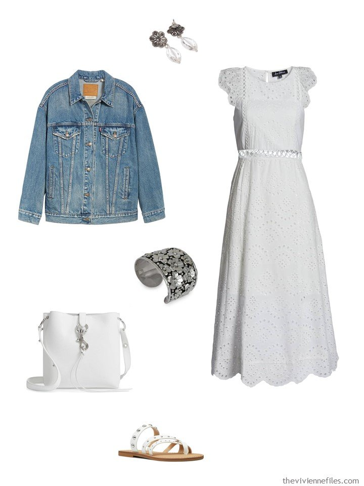 4. white eyelet dress with a denim jacket
