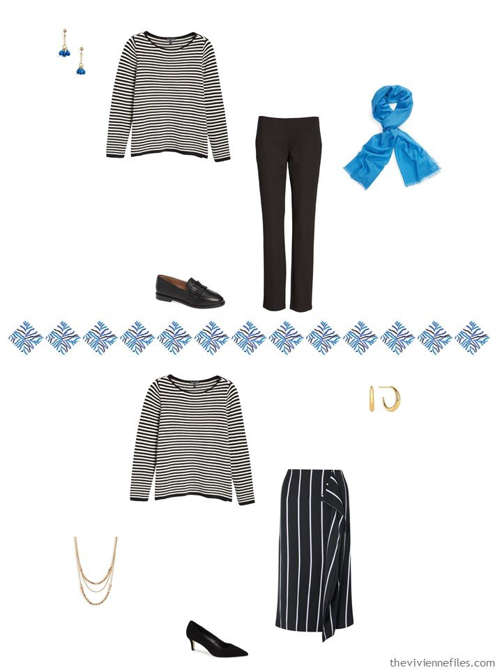 5. 2 ways to wear a striped sweater from a capsule wardrobe