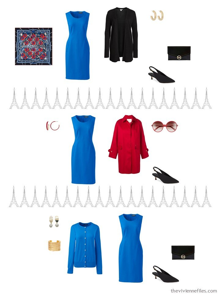 5. 3 ways to wear a blue dress from a travel capsule wardrobe