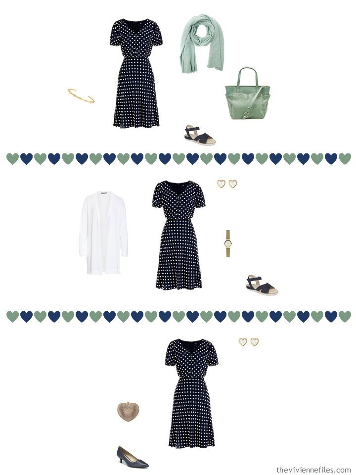 5. 3 ways to wear a navy dotted dress from a travel capsule wardrobe