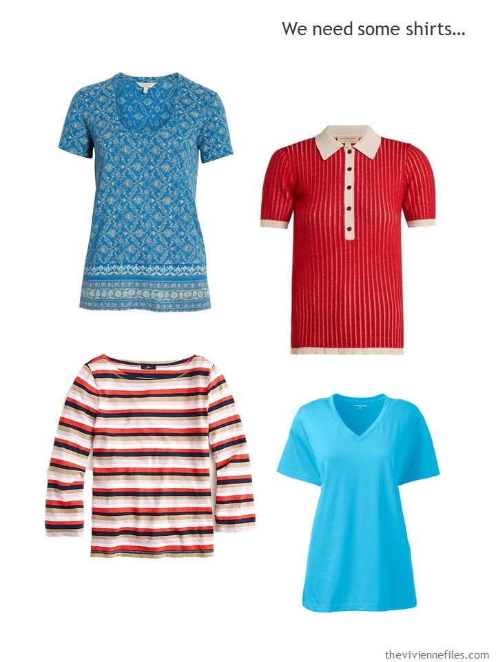 5. 4 tops in red, turquoise and beige