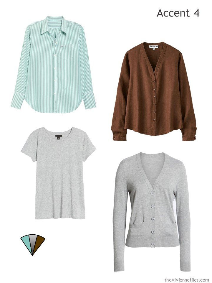 5. Four accents in aqua, brown and grey