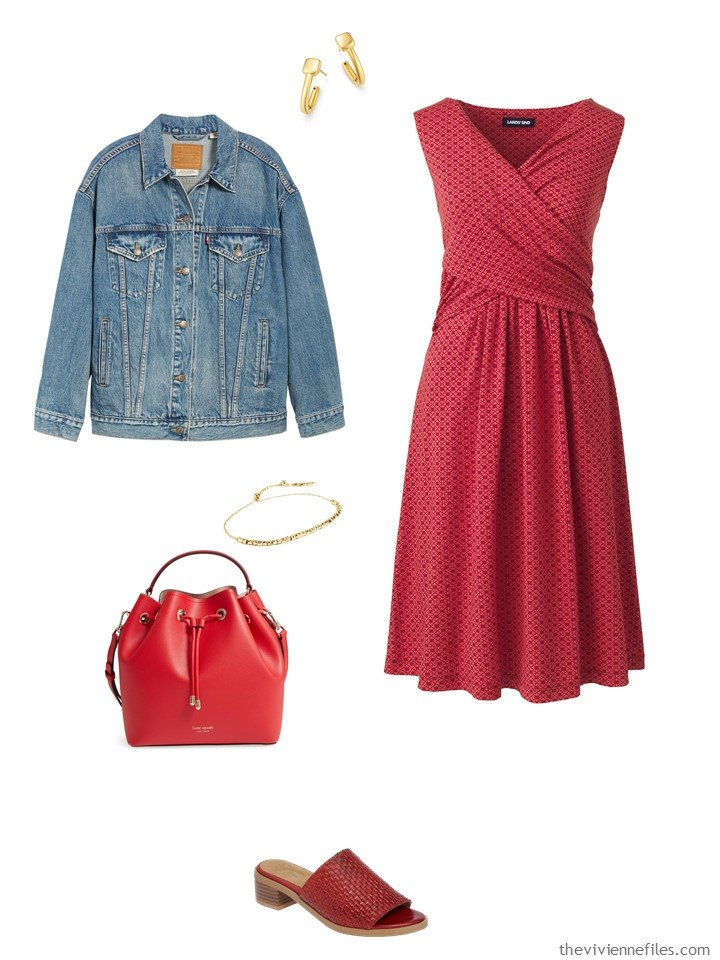 5. red print dress with a denim jacket
