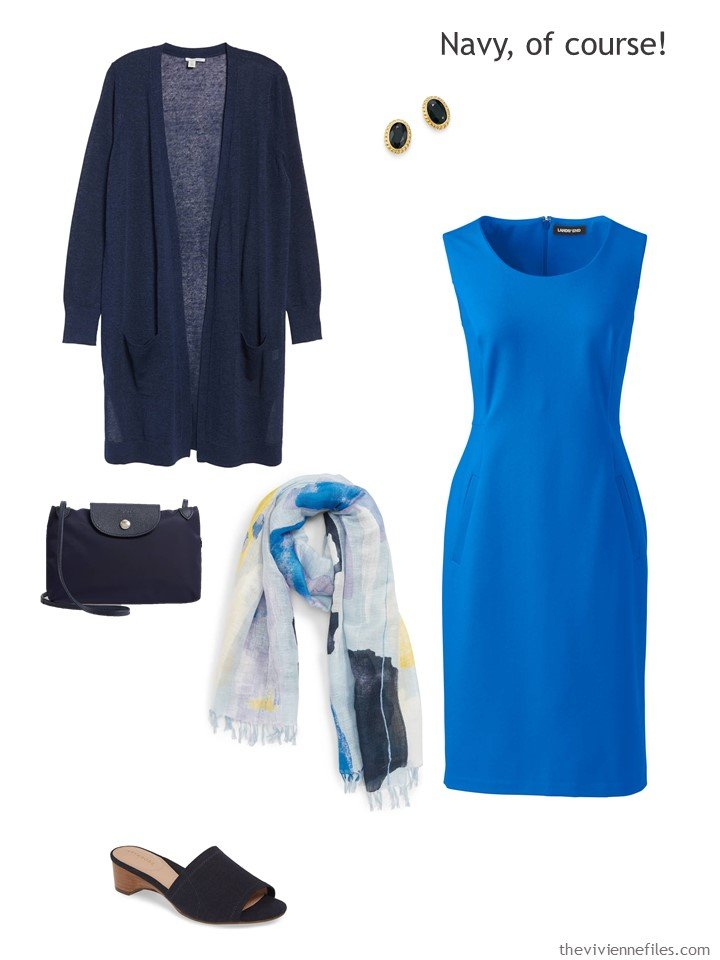 5. royal blue dress with navy accessories