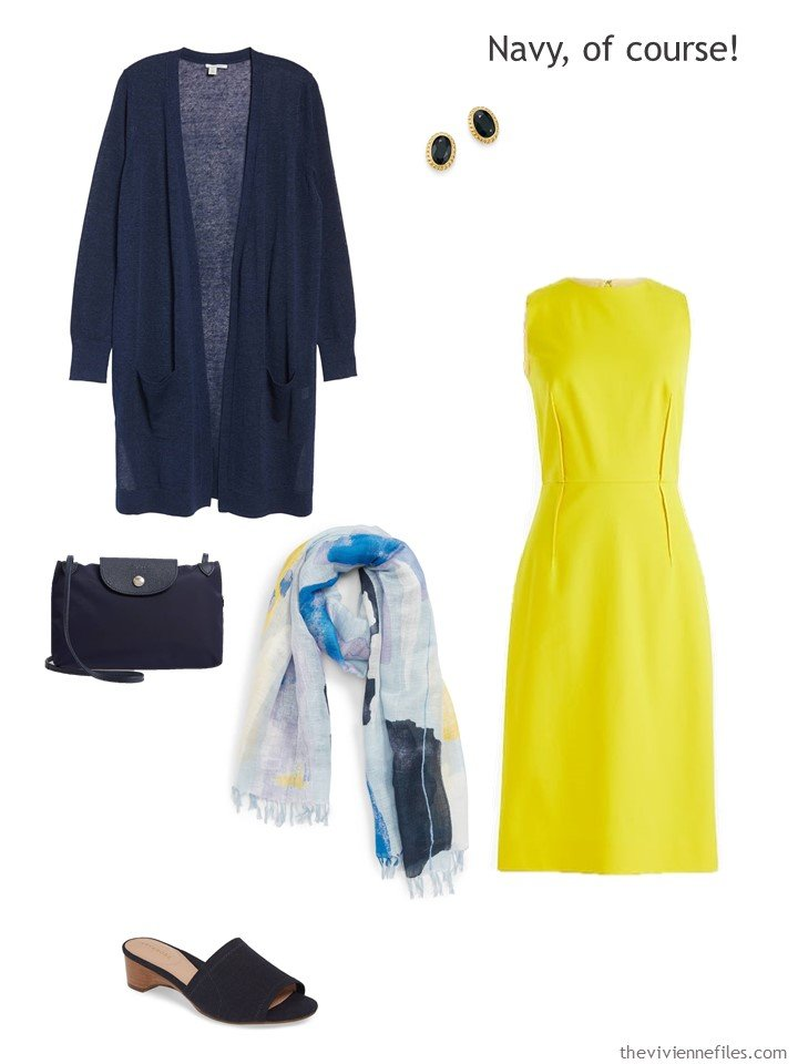 5. yellow dress with navy accessories