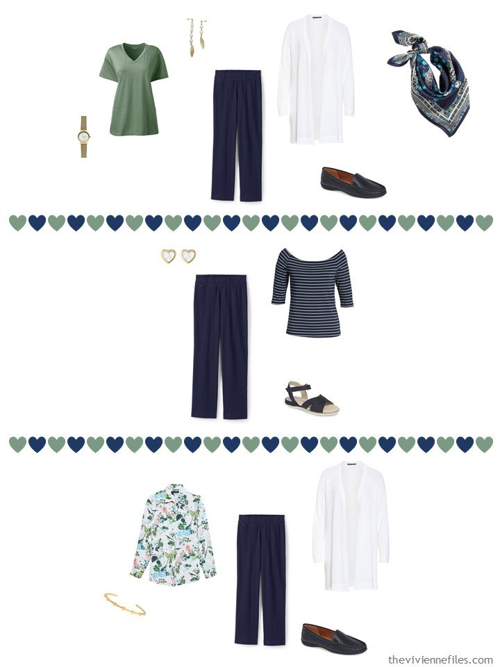 6. 3 ways to wear navy pants from a travel capsule wardrobe
