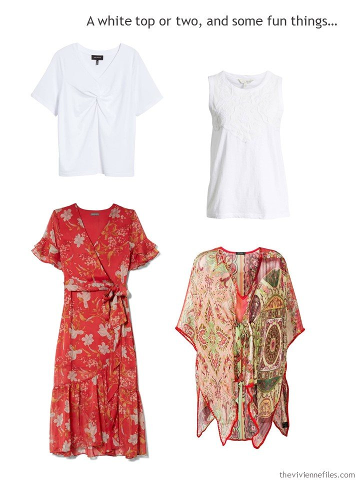 6. 4 garments in red, white and beige