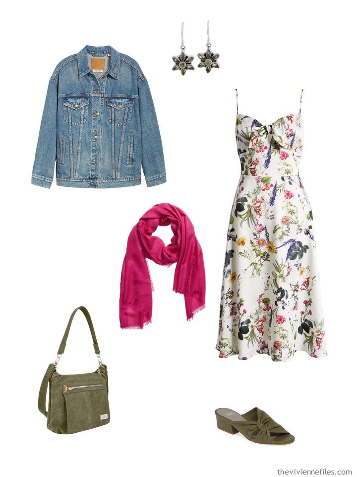 6. floral dress with a denim jacket