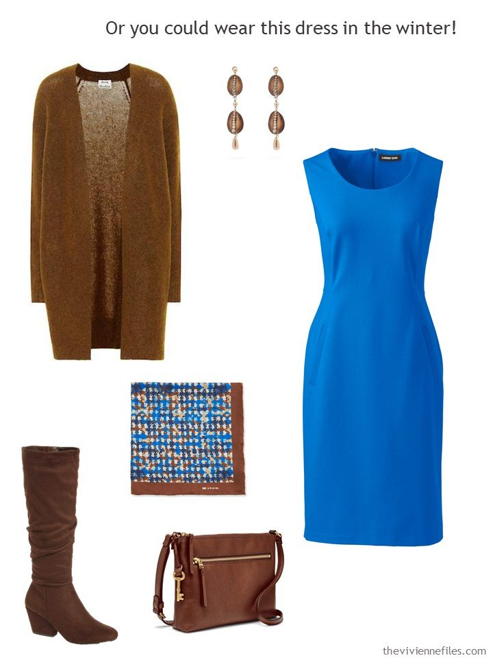 6. royal blue dress with brown accessories