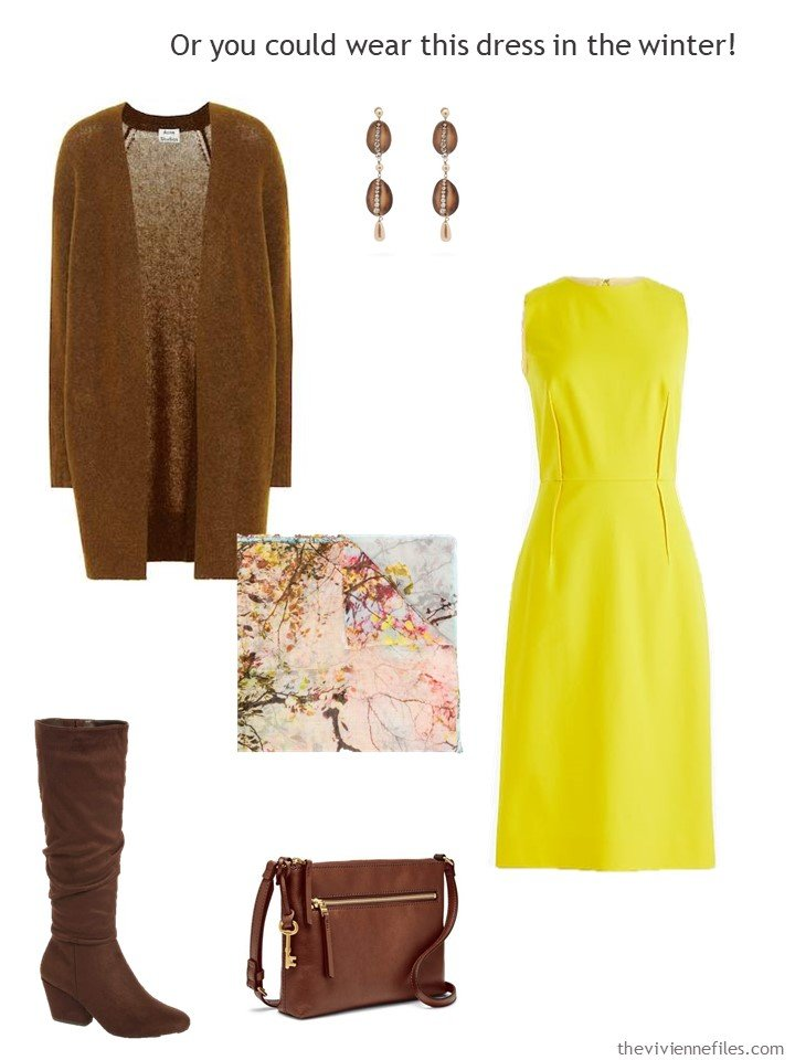 6. yellow dress with brown accessories