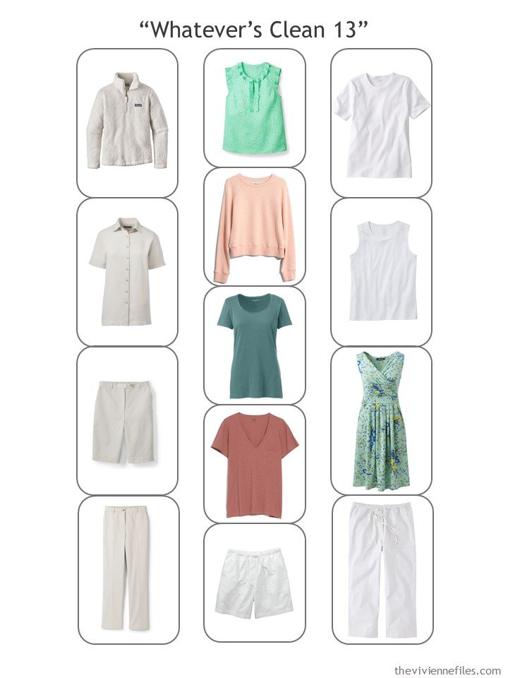 7. Whatever's Clean 13 wardrobe in stone, white, blush, rust and green