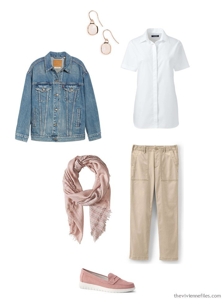 7. khakis and a white shirt with a denim jacket