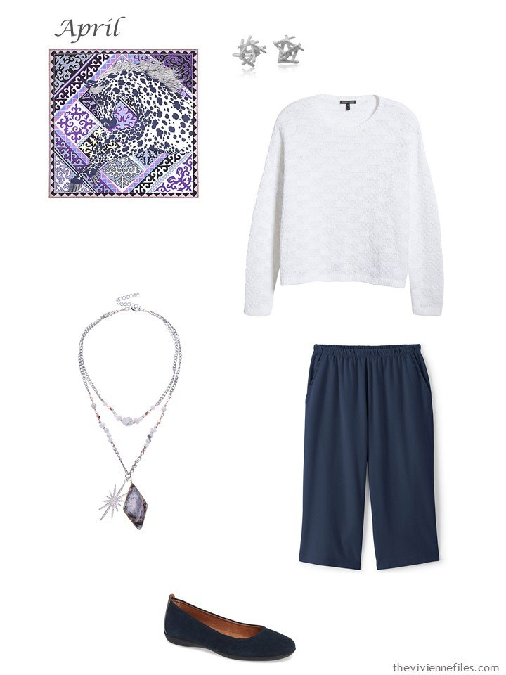 7. navy and white capri pants outfit