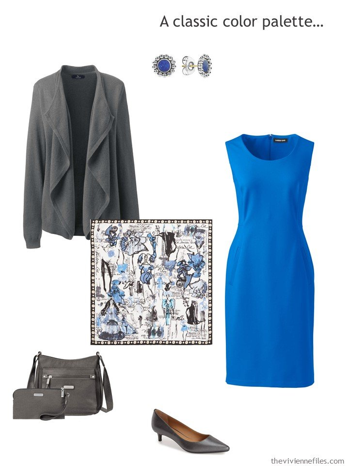 7. royal blue dress with grey accessories