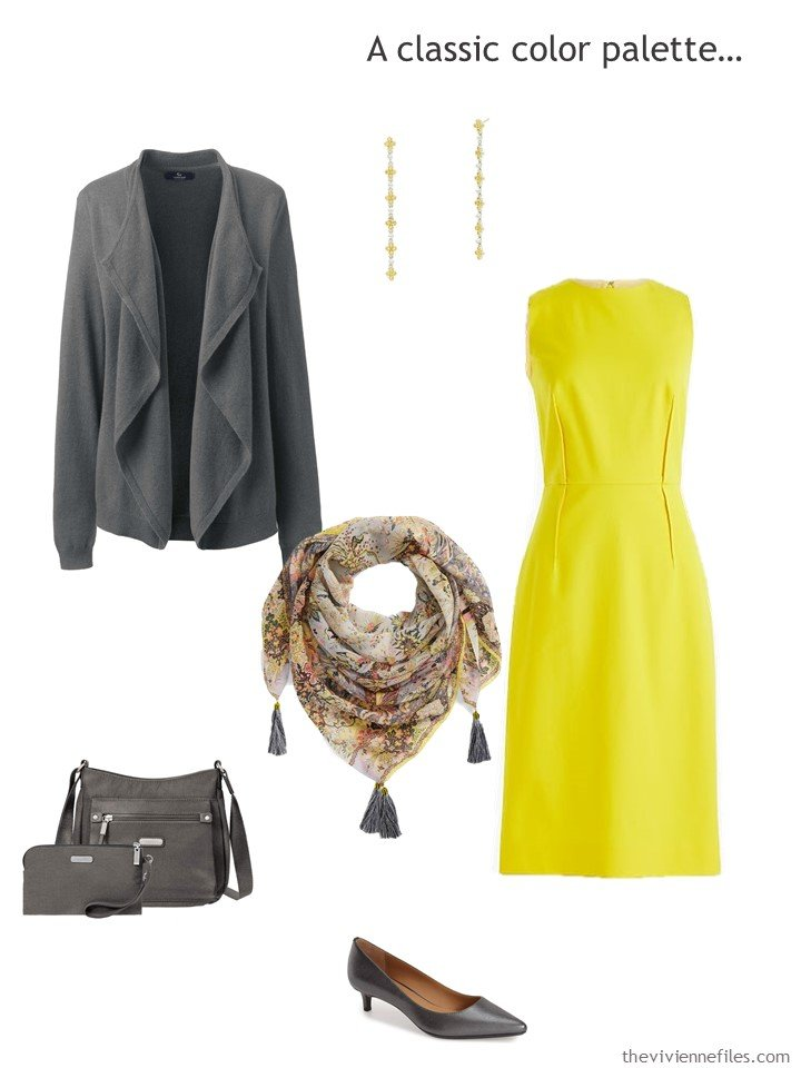 7. yellow dress with grey accessories