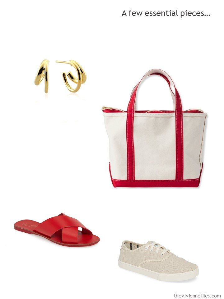 8. 4 accessories for a red and beige wardrobe