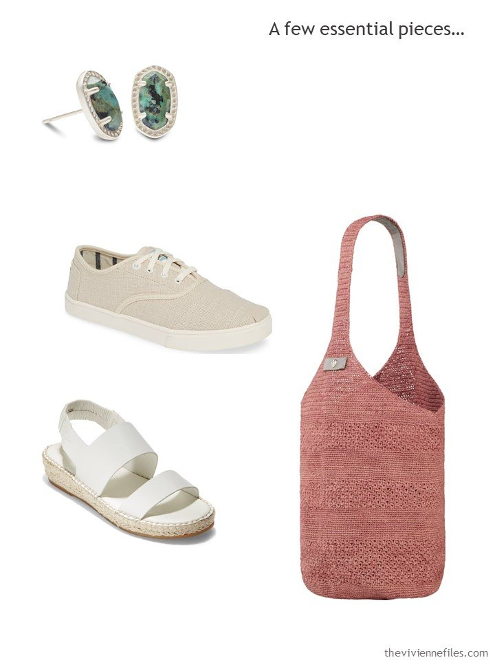 8. Essential accessories for a Whatever's Clean 13 wardrobe in stone, white, rust, blush and green