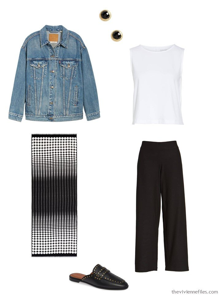 8. black pants and white top with a denim jacket