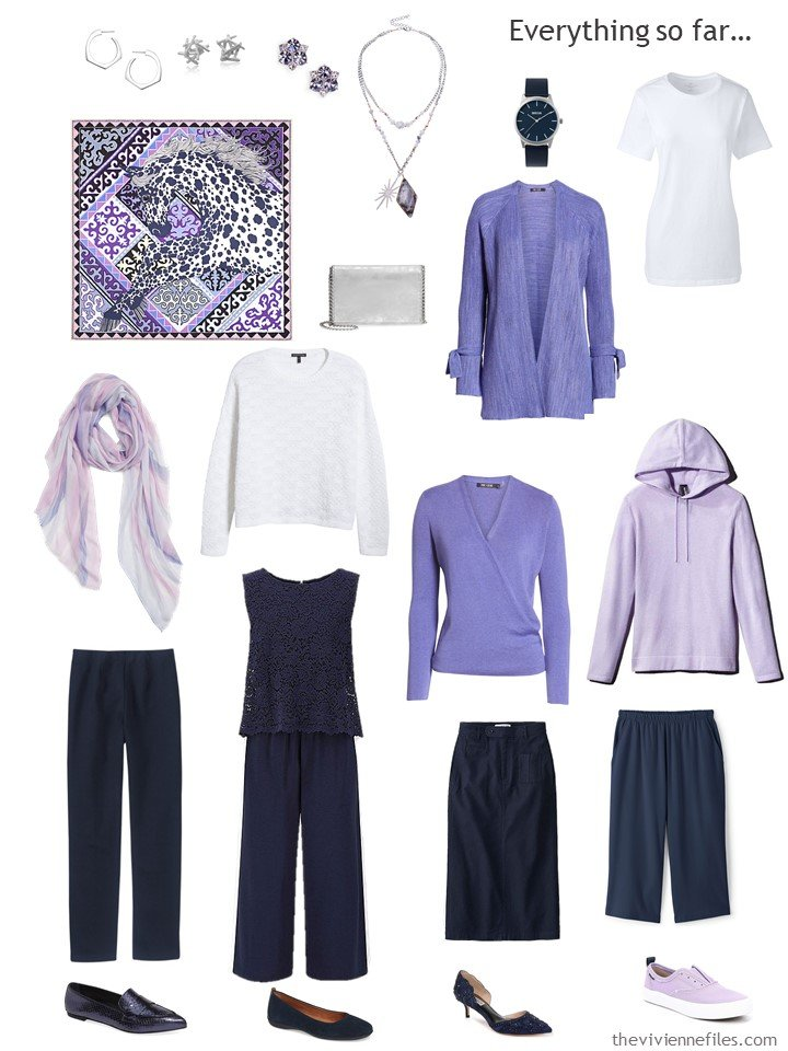 8. navy, white and purple capsule wardrobe