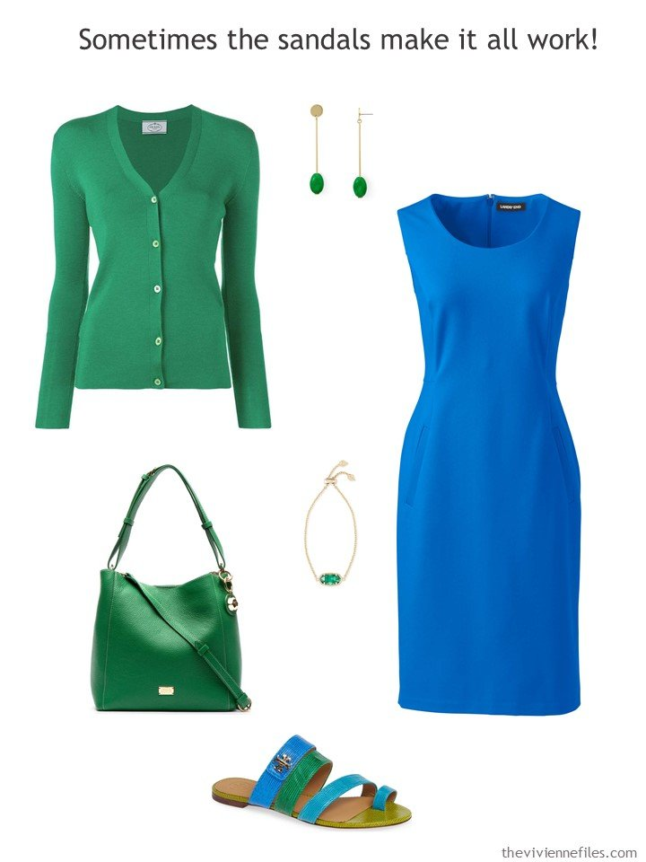 8. royal blue dress with green accessories