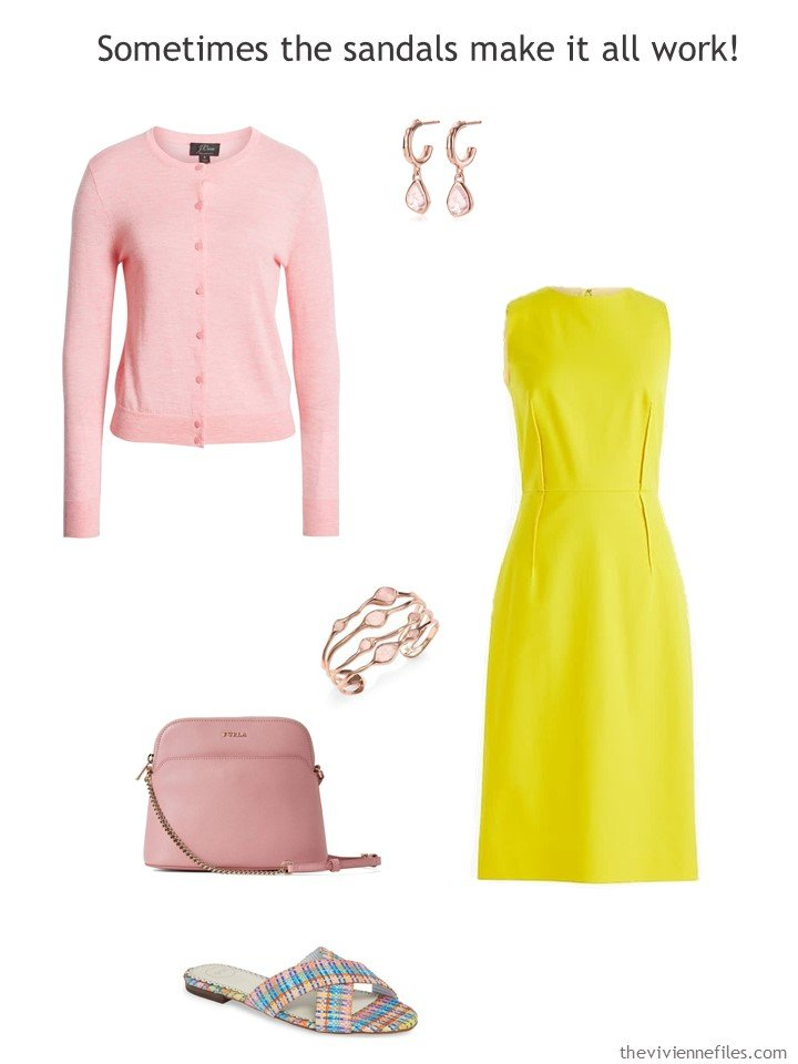 8. yellow dress with pink accessories