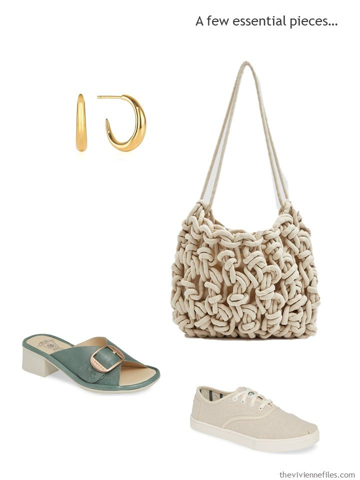 9. accessories in beige and hedge green