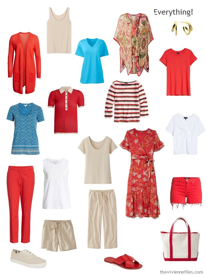9. capsule wardrobe in red, beige, turquoise and white