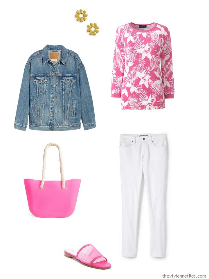 9. floral sweater and white pants with a denim jacket