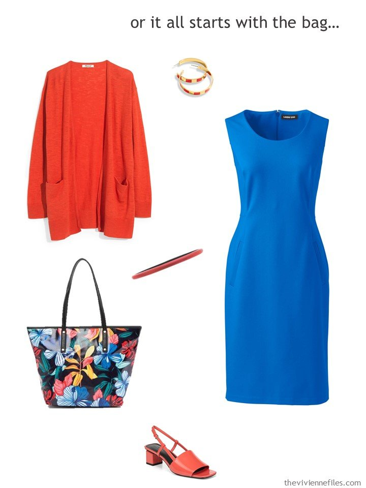 9. royal blue dress with orange accessories