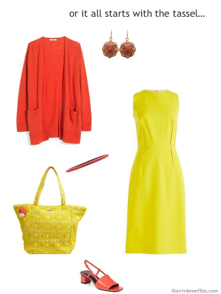 9. yellow dress with bright coral accessories