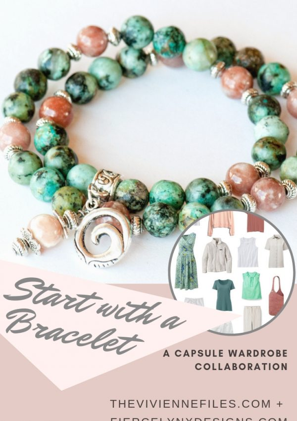 How to build a capsule wardrobe around a bracelet - natural gemstone bracelet in African Turquoise and Cherry Blossom Jasper with coordinating summer capsule wardrobe.