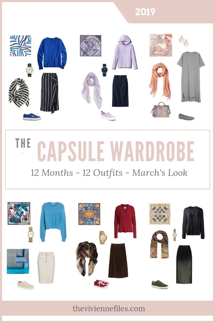 Capsule Wardrobes for March 2019 – 12 Months, 12 Outfits – Based on 6 Hermes Scarves