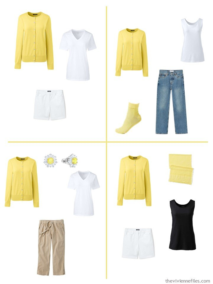10. 4 outfits using a pale pineapple cardigan