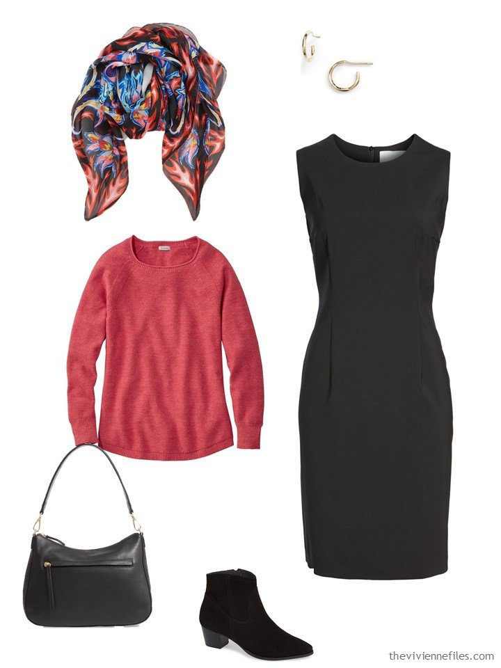 10. rose sweater with a black dress