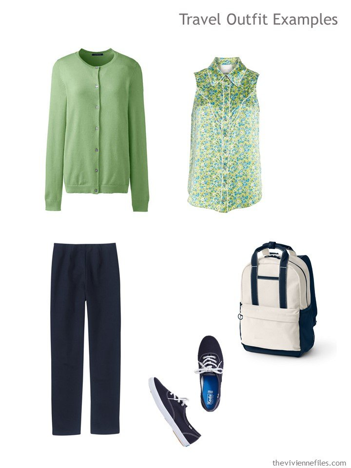 10. travel outfit in green and navy