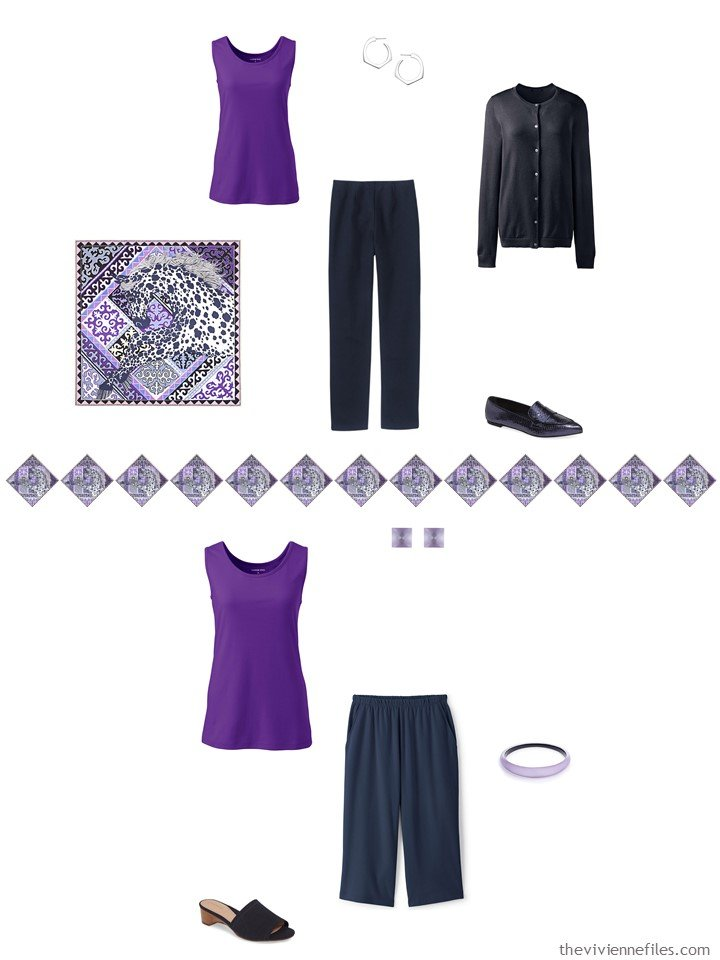 11. 2 ways to wear a purple tank top from a travel capsule wardrobe