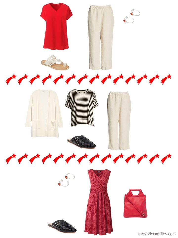 11. 3 outfits from a travel capsule wardrobe
