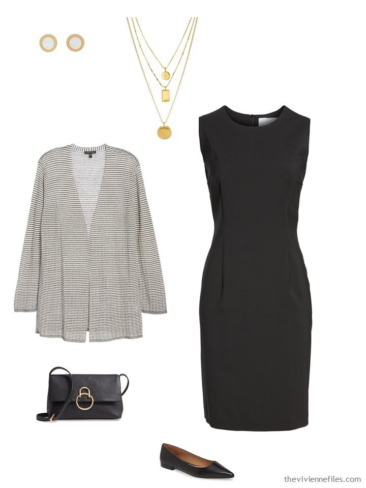 11. ivory and black cardigan with a black dress