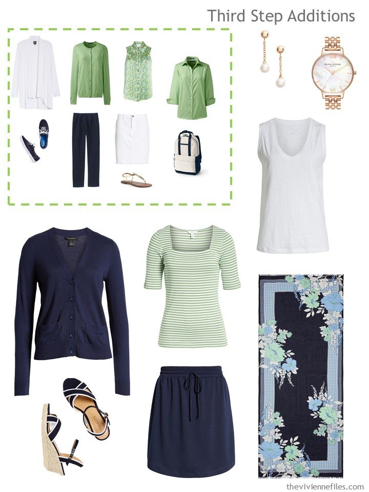 12. 2nd outfit to pack, in navy, green and white