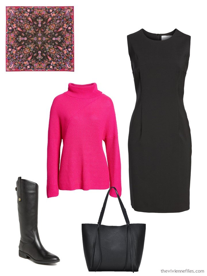 12. hot pink sweater with a black dress