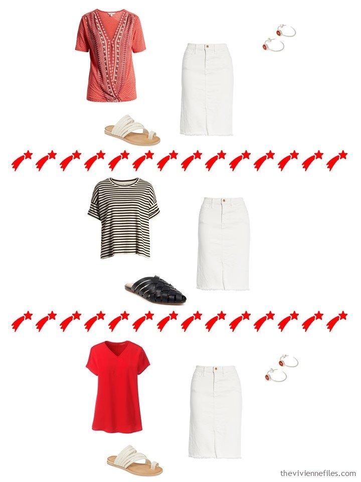 13. 3 ways to wear a bone skirt from a travel capsule wardrobe