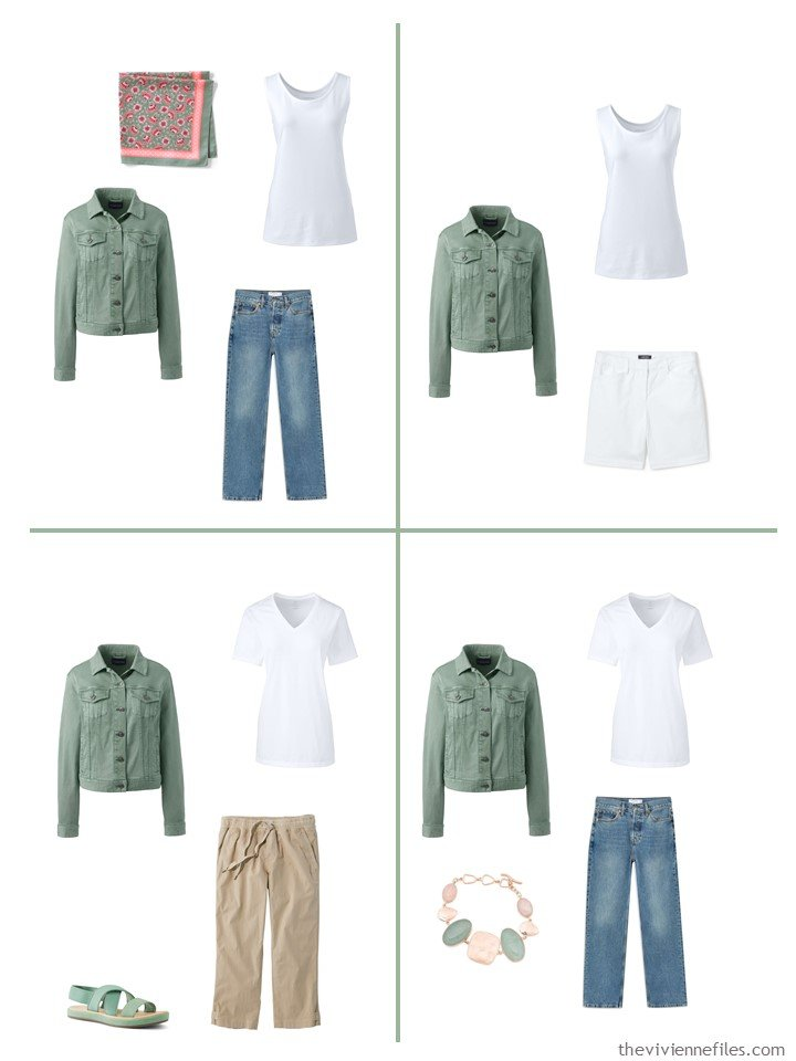 13. 4 outfits including a hedge green denim jacket