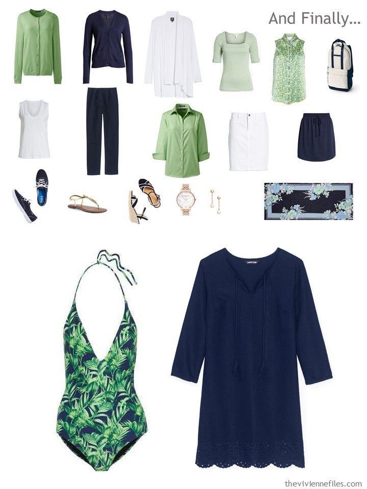 13. adding a swimsuit and coverup to a navy and green travel capsule wardrobe