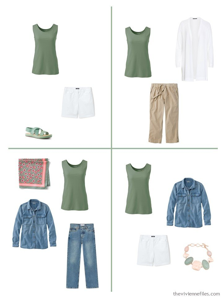 14. 4 outfits including a hedge green sleeveless top